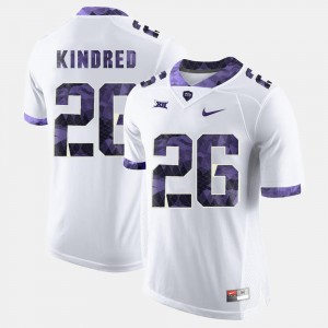 #26 College Football Mens White Derrick Kindred Texas Christian University Jersey
