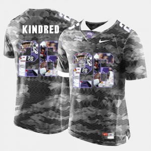 #26 Derrick Kindred Horned Frogs Jersey Grey Mens High-School Pride Pictorial Limited