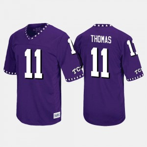Purple Throwback For Men #11 Dylan Thomas Texas Christian Jersey