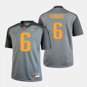 College Football Gray For Men #6 Alvin Kamara Tennessee Volunteers Jersey