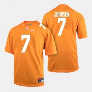 Men's College Football Orange #7 Brandon Johnson Tennessee Volunteers Jersey