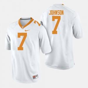 White Men College Football Brandon Johnson Tennessee Vols Jersey #7