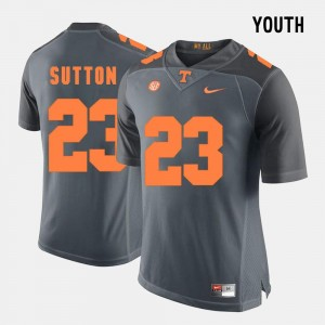 #23 Grey College Football Youth(Kids) Cameron Sutton UT Jersey