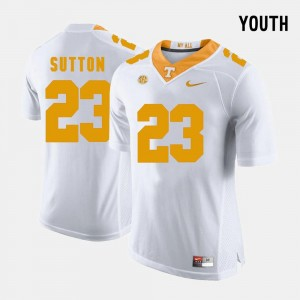 Kids Cameron Sutton Tennessee Jersey #23 College Football White