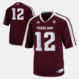 Aggies Jersey #12 Youth College Football Burgundy