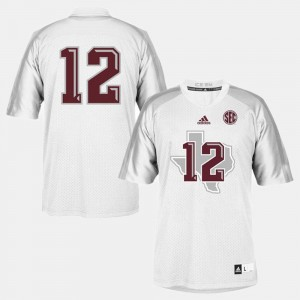 Youth(Kids) White Aggies Jersey #12 College Football