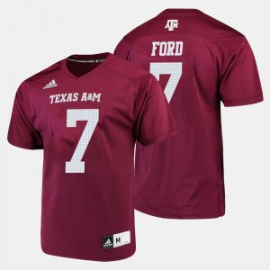 #7 Maroon Men's College Football Keith Ford Texas A&M University Jersey
