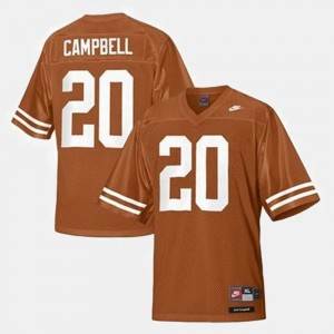 Orange #20 College Football Earl Campbell UT Jersey For Kids