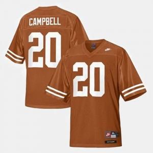 #20 Men Orange Earl Campbell UT Jersey College Football