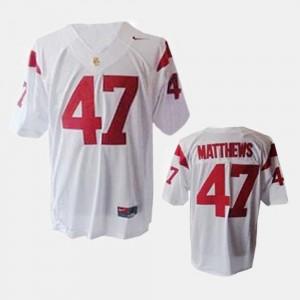 Clay Matthews USC Trojans Jersey College Football #47 White For Kids