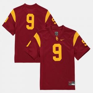 College Football Trojans Jersey #9 For Kids Cardinal