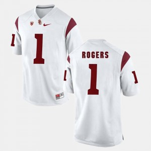 #1 For Men's White Darreus Rogers USC Jersey Pac-12 Game