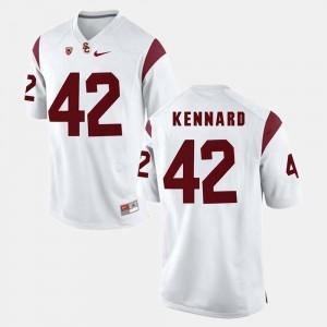 #42 For Men's Devon Kennard Trojans Jersey White Pac-12 Game