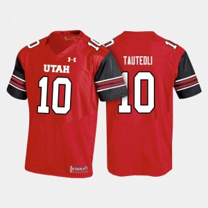 For Men's College Football #10 Sunia Tauteoli Utes Jersey Red
