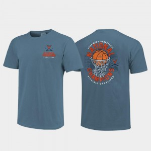 2019 Men's Basketball Champions Men's Blue 2019 NCAA Basketball National Champions Ball in Net Comfort Color Cavaliers T-Shirt