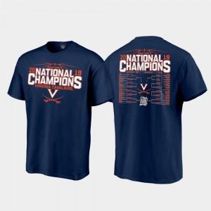 2019 NCAA Basketball National Champions Top Billing Bracket Navy Virginia Cavaliers T-Shirt 2019 Men's Basketball Champions For Men
