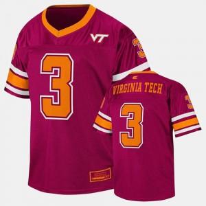 Youth(Kids) Maroon Virginia Tech Jersey College Football #3