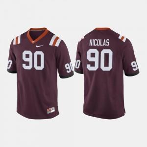 Maroon Dadi Nicolas Virginia Tech Hokies Jersey #90 For Men College Football