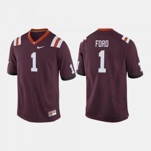 Maroon College Football For Men's Isaiah Ford Virginia Tech Hokies Jersey #1