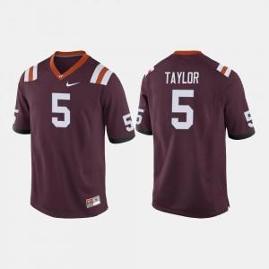 For Men's Maroon Tyrod Taylor Virginia Tech Hokies Jersey #5 College Football