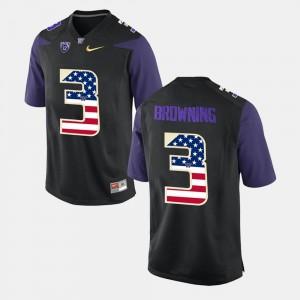 US Flag Fashion For Men's #3 Black Jake Browning UW Jersey