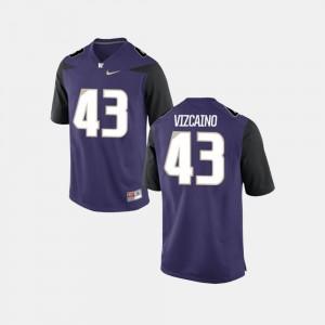 College Football #43 Tristan Vizcaino Washington Jersey For Men's Purple