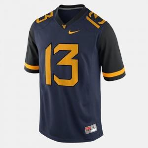 #13 Blue College Football Men Andrew Buie West Virginia University Jersey