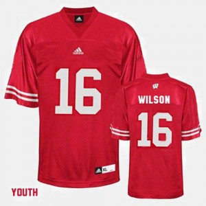Red #16 Youth College Football Russell Wilson University of Wisconsin Jersey