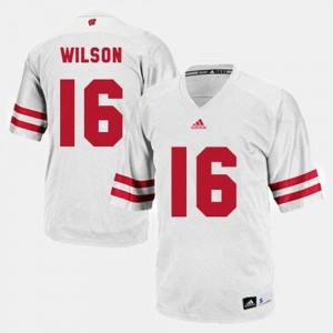 Men College Football White Russell Wilson Wisconsin Jersey #16