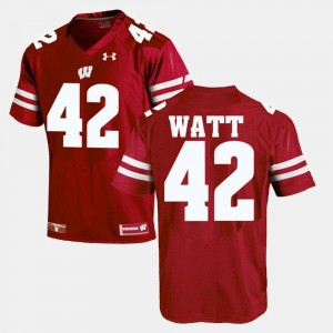 Red #42 For Men Alumni Football Game T.J Watt Wisconsin Badgers Jersey