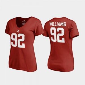 V Neck Name & Number College Legends Crimson For Women #92 Quinnen Williams Bama T-Shirt