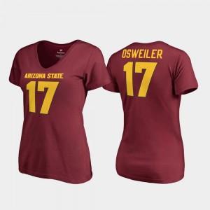Brock Osweiler Sun Devils T-Shirt College Legends Womens #17 V Neck Maroon