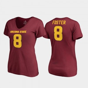 Maroon #8 V Neck For Women's D.J. Foster Arizona State T-Shirt College Legends