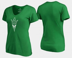 Kelly Green St. Patrick's Day Sun Devils T-Shirt White Logo Fanatics Branded For Women