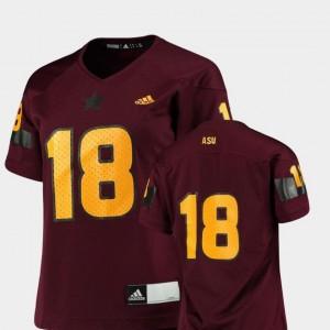 Women Arizona State Sun Devils Jersey #18 Maroon Replica Adidas College Football