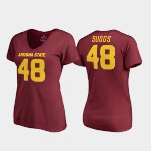 Terrell Suggs Sun Devils T-Shirt College Legends V Neck For Women #48 Maroon