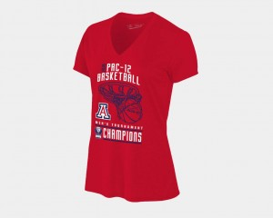 Arizona Wildcats T-Shirt Red Basketball Conference Tournament V Neck 2018 Pac 12 Champions Locker Room For Women