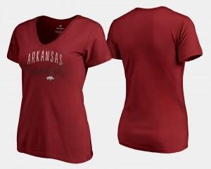 V Neck Fanatics Branded Arkansas Razorbacks T-Shirt For Women Cardinal Graceful