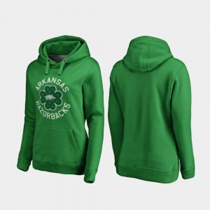 Kelly Green Ladies Luck Tradition Fanatics Branded University of Arkansas Hoodie St. Patrick's Day
