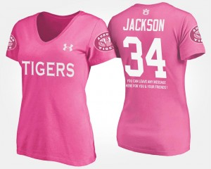 Pink Bo Jackson Tigers T-Shirt #34 Name and Number Women's With Message