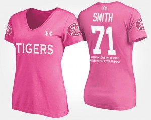 Name and Number Braden Smith Auburn University T-Shirt Women's Pink #71 With Message