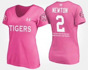 Name and Number For Women's With Message Cam Newton AU T-Shirt Pink #2