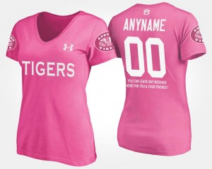 #00 T shirt With Message Pink For Women Name and Number Tigers Custom T-Shirt