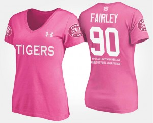 With Message Pink Ladies Nick Fairley Auburn T-Shirt #90 Name and Number
