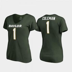 V Neck College Legends #1 Corey Coleman Bears T-Shirt Green Women