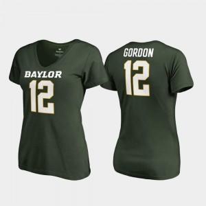 Josh Gordon Baylor University T-Shirt College Legends Green #12 V Neck For Women