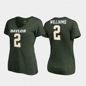 #2 Terrance Williams Baylor University T-Shirt Green V Neck College Legends Women's