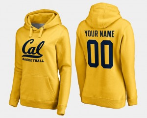 University of California Custom Hoodies Womens #00 Basketball Name and Number Gold