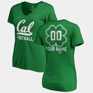 Kelly Green #00 V Neck Dubliner Fanatics Cal Bears Custom T-Shirt St. Patrick's Day Women's