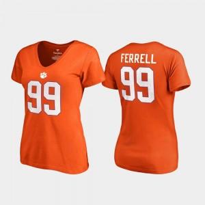 V Neck Name & Number Clelin Ferrell Clemson University T-Shirt #99 For Women College Legends Orange